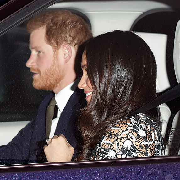 Prince Harry and Meghan Markle in car