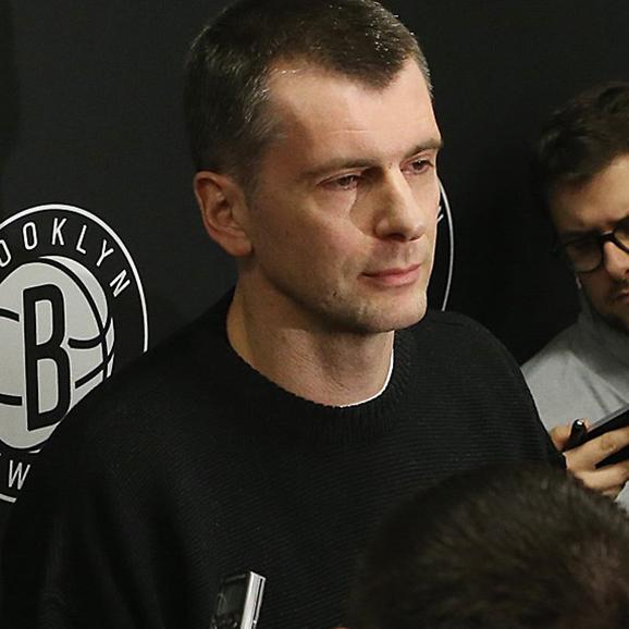 Mikhail Prokhorov with an earpiece