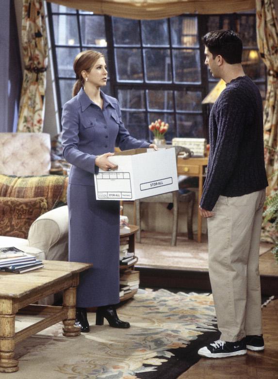 Jennifer Aniston, as character Rachel Green on 'Friends' wears a matching skirt suit
