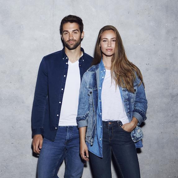 Couple wearing double denim