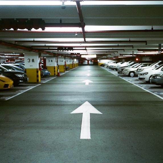Interior of parking garage