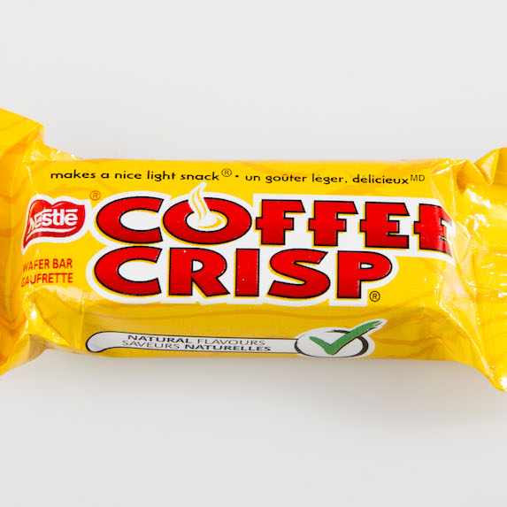 Coffee Crisp candy bar in its wrapper