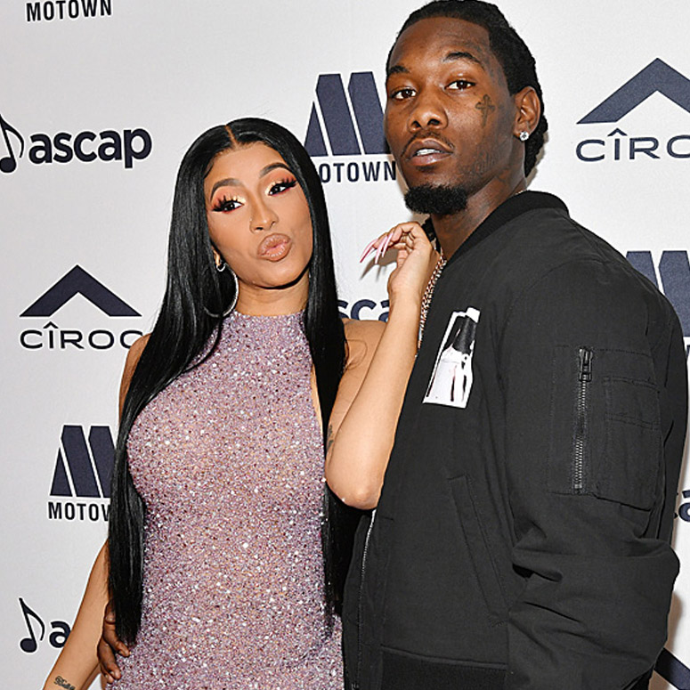 Cardi B and Offset on a red carpet