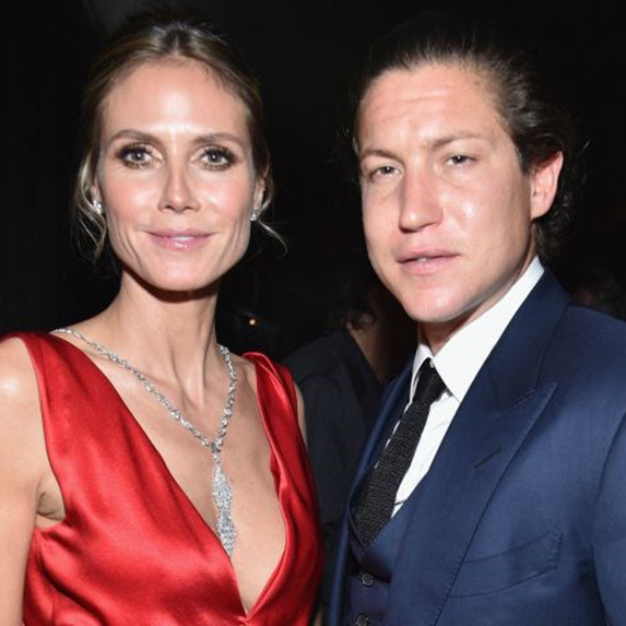 Heidi Klum and Vito Schnabel standing side-by-side, looking at the camera