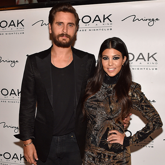 Kourtney Kardashian and Scott Disick on a night out, dressed up