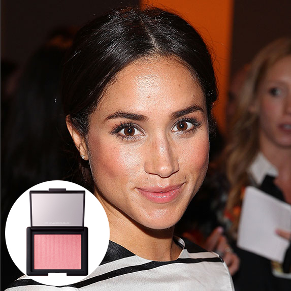meghan markle with rosy cheeks and photo of nars orgasm blush superimposed