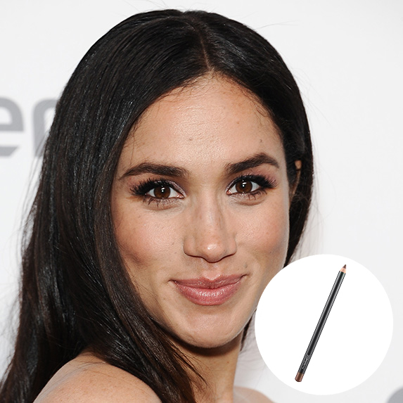 meghan markle with photo of MAC Teddy liner superimposed