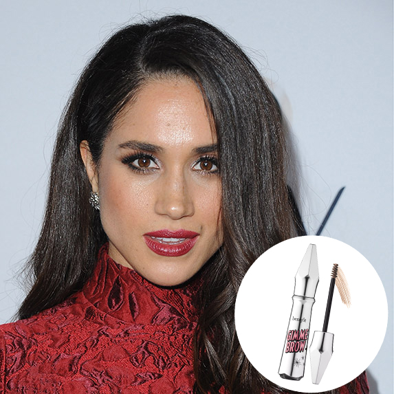 meghan markle with red lipstick and bold brows and benefit gimme brow plus photo superimposed