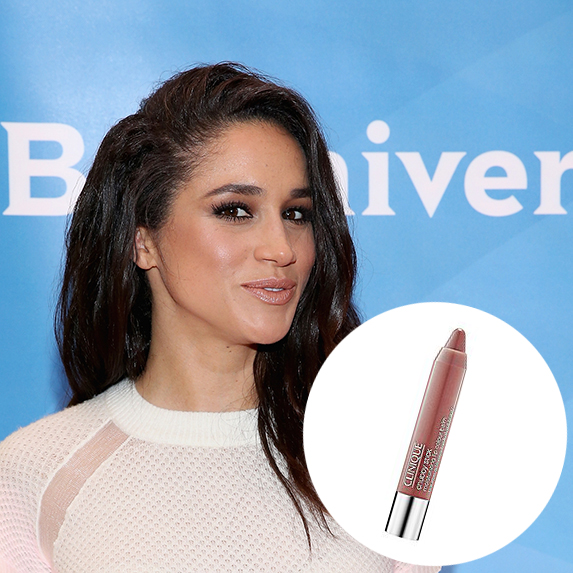 meghan markle with nude lips and a photo of clinique chubby stick superimposed