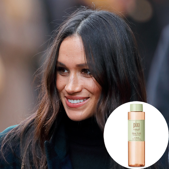 meghan markle with glowing skin with photo of pixi glow tonic superimposed