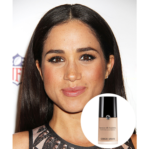meghan markle with glowing skin and photo of armani luminous silk foundation superimposed