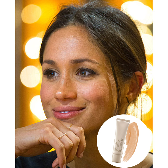 meghan markle smiling with glowing skin and a hand on her chin with photo of laura mercier tinted moisturizer superimposed