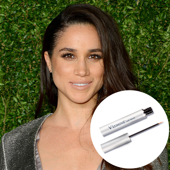 meghan markle with photo of revitalash serum superimposed