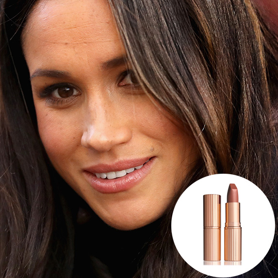 closeup of meghan markle's peachy nude lips with charlotte tilbury very victoria lipstick superimposed