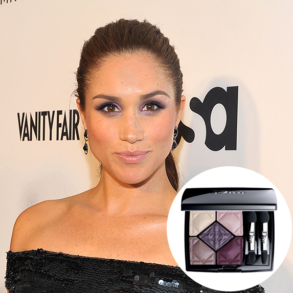 meghan markle with hair in ponytail and purple smoky eyes with photo of purple dior eyeshadow palette superimposed