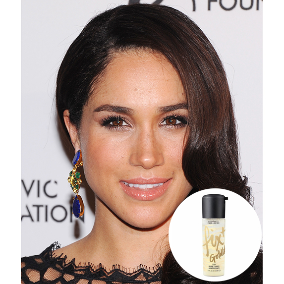 meghan markle with sleek hair and glowy skin with photo of MAC Shimmer Fix Plus superimposed