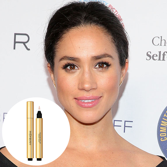 meghan markle with glowy makeup and photo of ysl touche eclat radiance perfecting pen superimposed