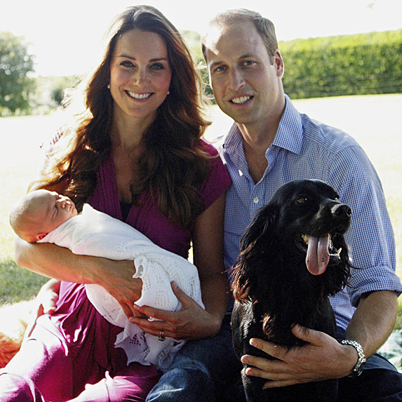 Duchess Kate, Prince William, baby Prince George and their dog