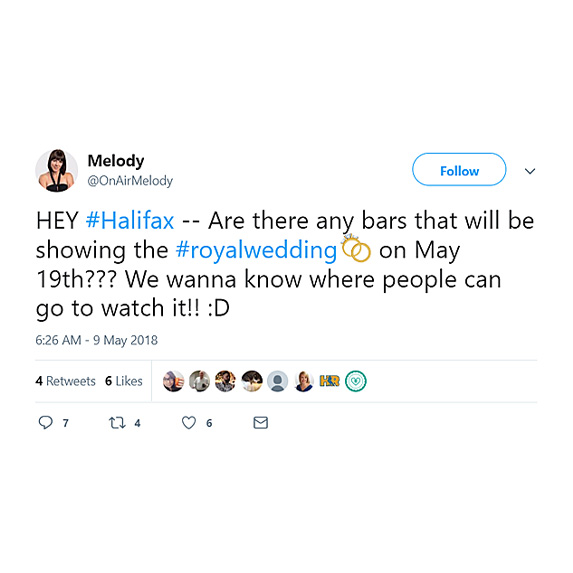 Looking for bars in Halifax airing the royal wedding