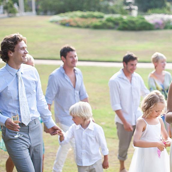 Guests walking towards wedding