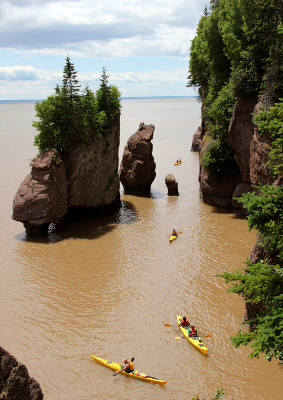 People kayaking in Fundy National Park, New Brunswick