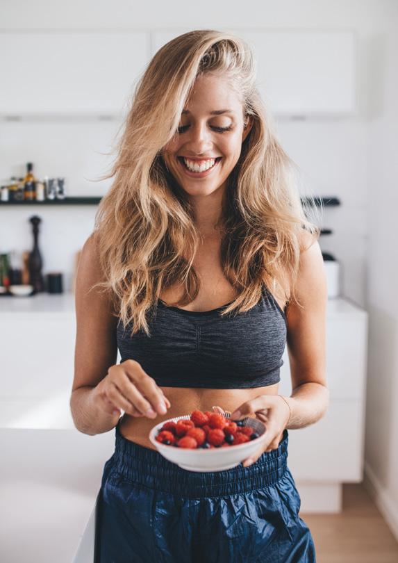 Woman eating healthy food