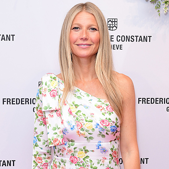Gwyneth Paltrow wears an off the shoulder floral gown