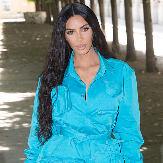 Kim Kardashian West in a bright blue suit