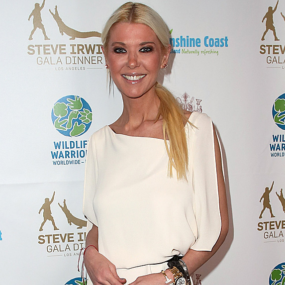 Tara Reid with her hair in a low ponytail