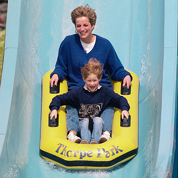 Diana and Harry on water ride at amusement park