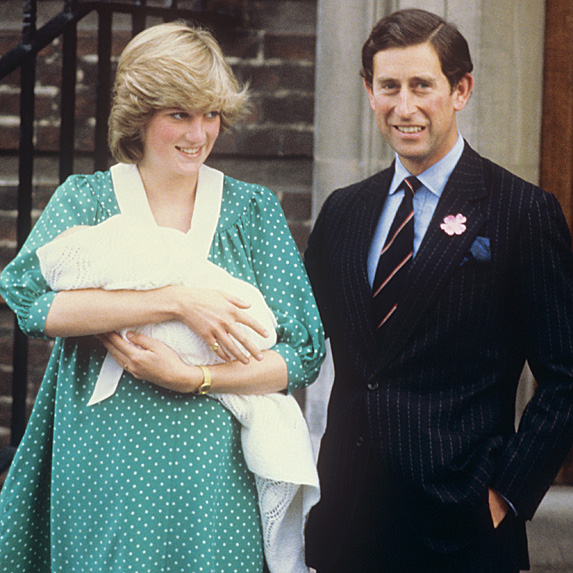 Diana and Charles leaving hospital with baby William