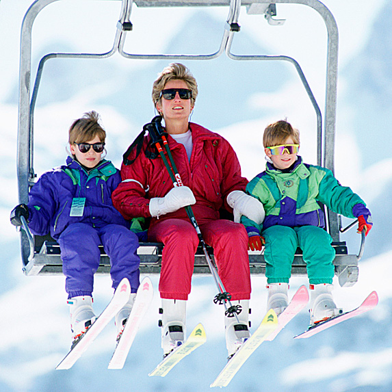 William, Diana and Harry on ski lift