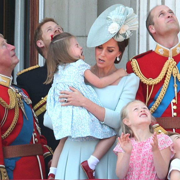 Kate comforting crying Charlotte at 2018 Trooping the Colour