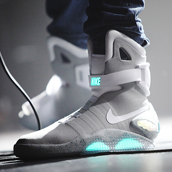 Grey and white high-tops with blue light-up soul and symbol