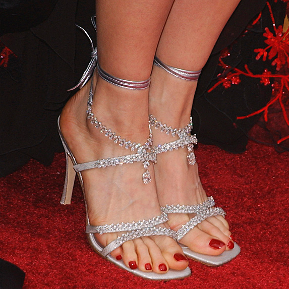 Strappy diamond and platinum stilettos