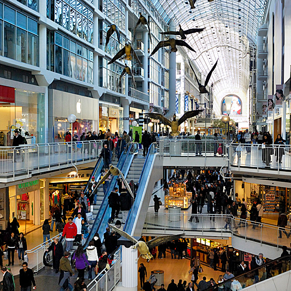 Shot of the Toronto Eaton Centre at a busy time