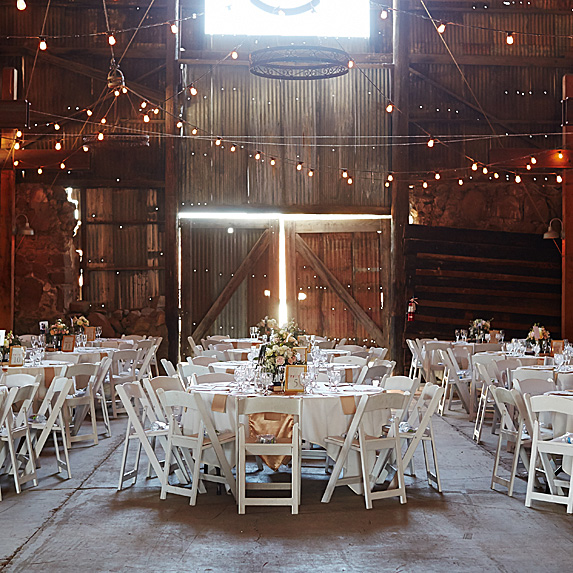 Wedding set up in barn