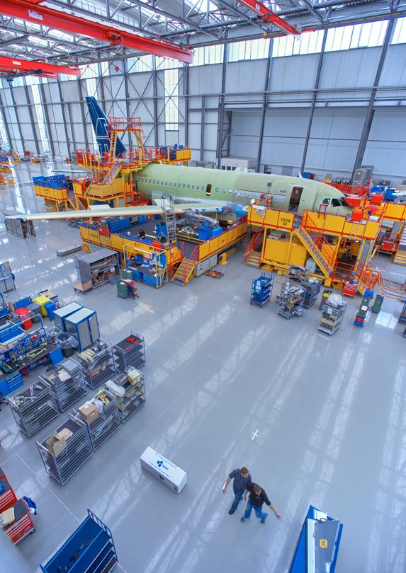 Aerospace engineers in hangar