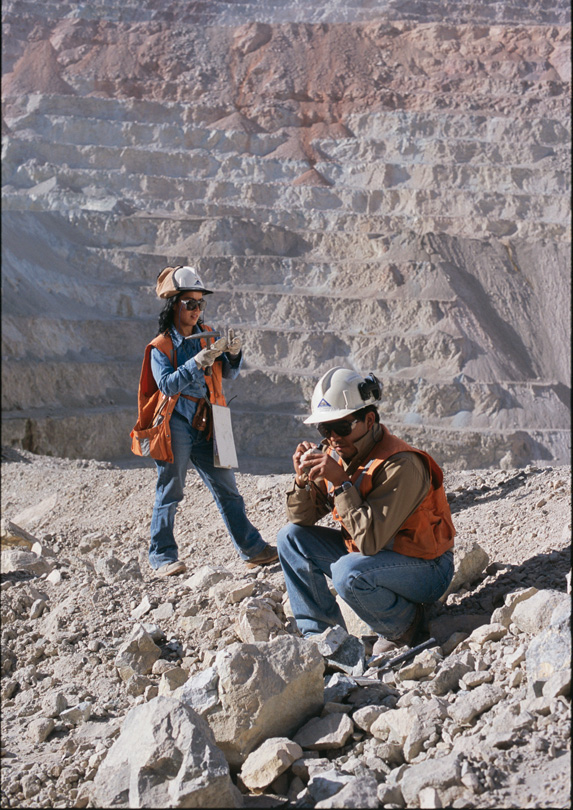 Geoscientists in a quarry