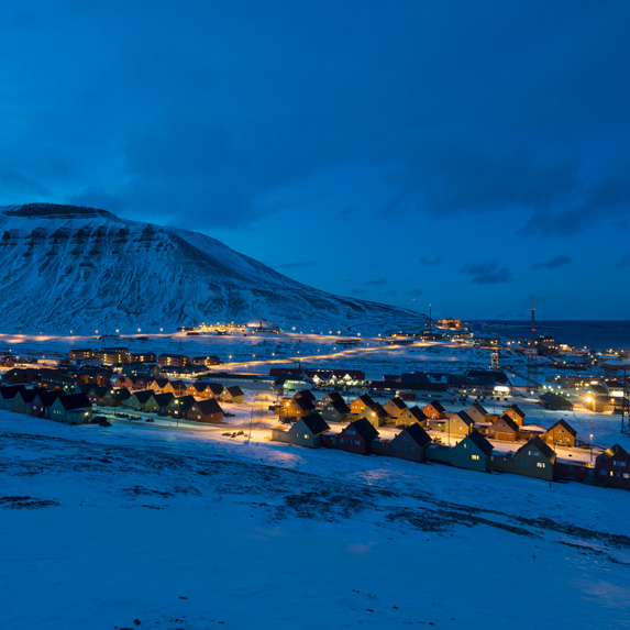 Evening in Longyearbyen, Norway