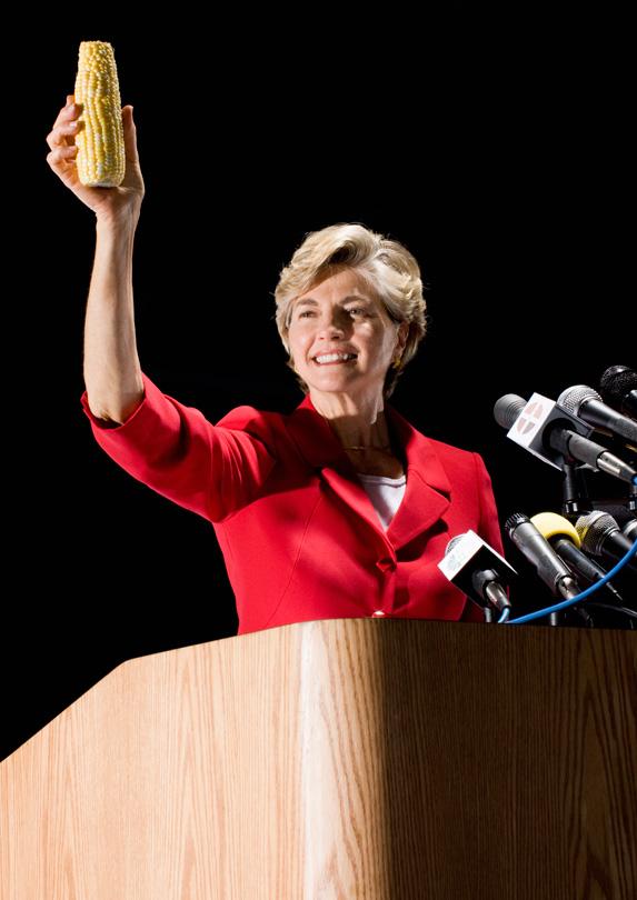 Politician holding corn