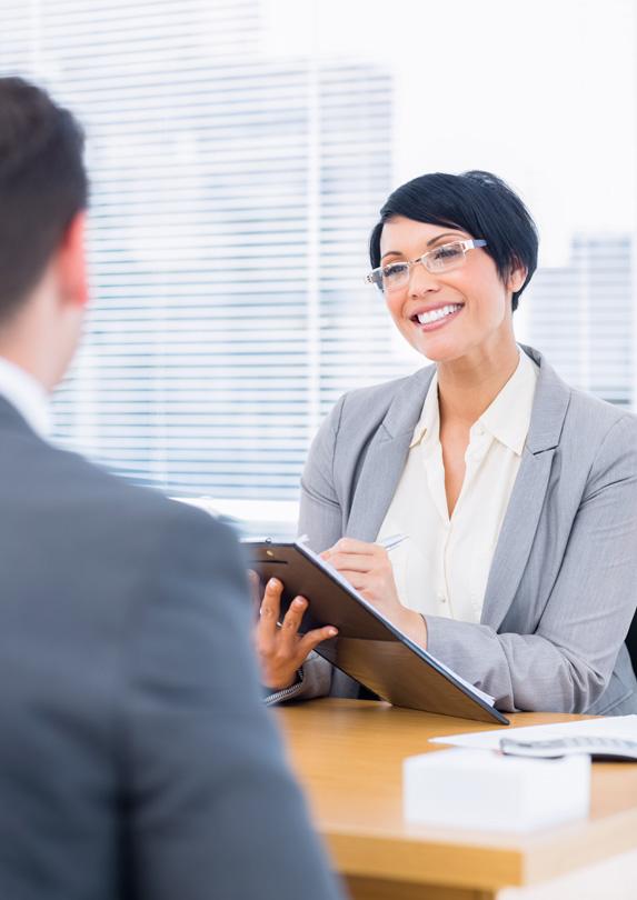Recruiter interviewing job applicant