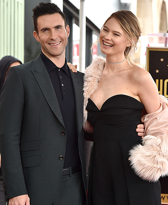 Adam Levine and Behati Prinsloo at Walk of Fame ceremony