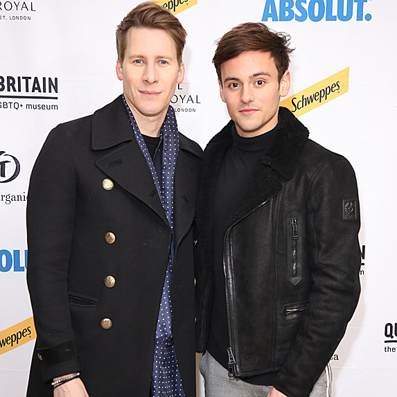 Dustin Lance Black and Tom Daley at museum
