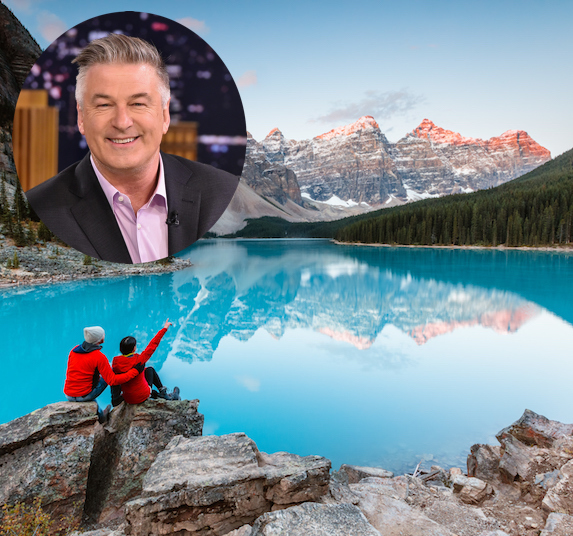 Alec Baldwin and an image of the Canadian Rockies