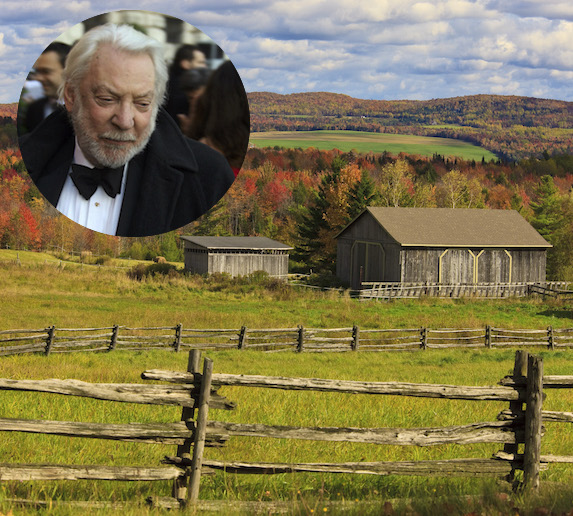 Donald Sutherland and an image of Georgeville, Quebec