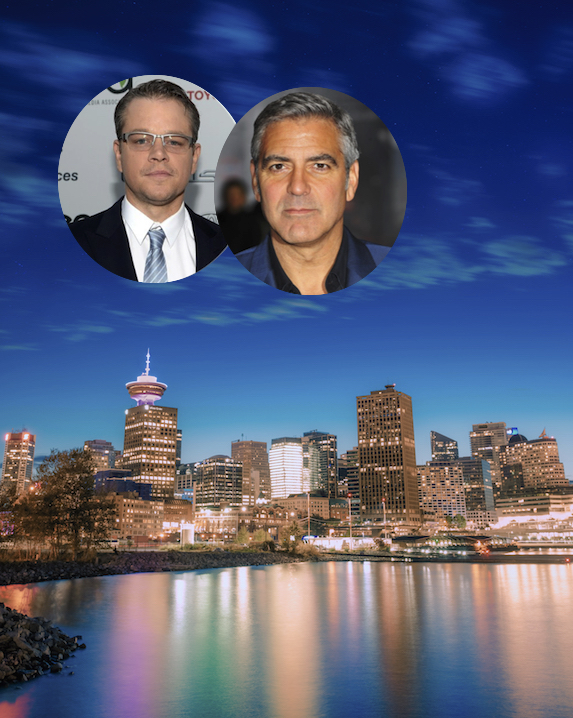 Matt Damon and George Clooney and an image of Vancouver's skyline at night