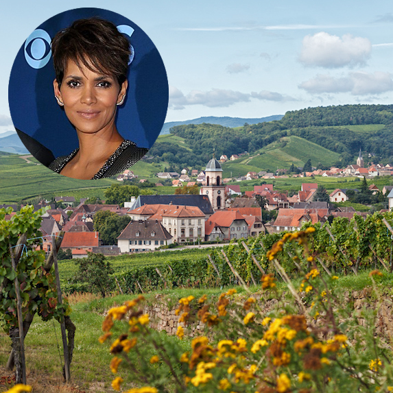 Halle Berry and an image of the town of Saint-Hippolyte