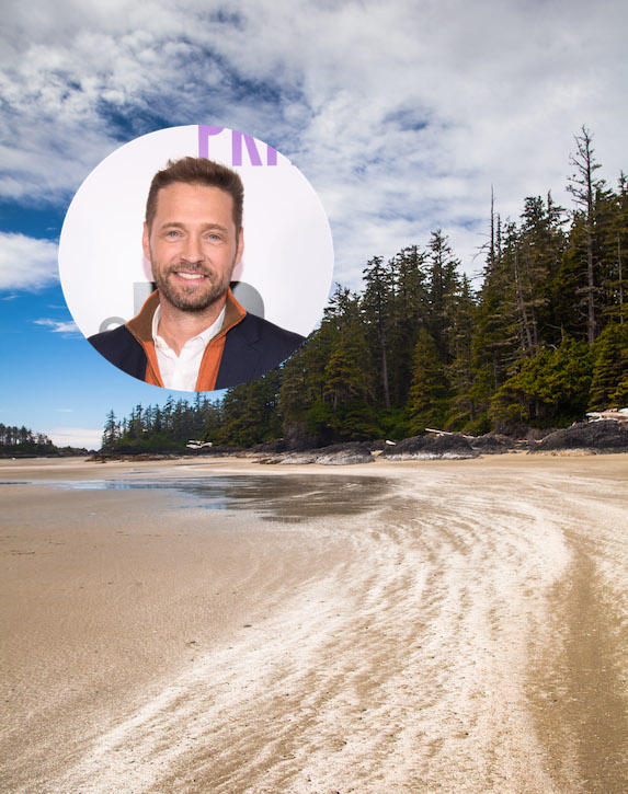 Jason Priestley and an image of a beach in Ucluelet