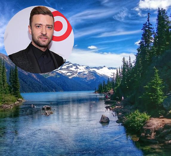 Justin Timberlake and an image of Whistler, British Columbia